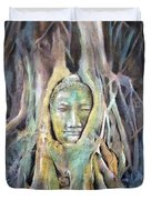 Buddha Head In Tree Roots Duvet Cover