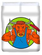 Bull Holding Barbecue Sausage Drawing Color Duvet Cover