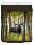 Bull Moose In Fall Forest Duvet Cover