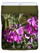 Bunch Of Pink Sweet Peas In The Sun Duvet Cover
