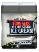 Cape Cod Four Seas Home Made Ice Cream Neon Sign Duvet Cover