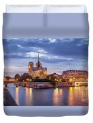 Cathedral Notre Dame And River Seine Duvet Cover by Brian Jannsen