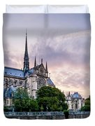 Cathedral Of Notre Dame From The Bridge - Paris France Duvet Cover