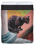 Cat's Pause 2 - Black Cat On The Front Porch Duvet Cover