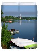 Chambly Basin And The Church Of St Joseph In Quebec Duvet Cover