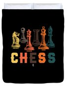 Chess Master Player Pawn Bishop Knight Queen King Graphic Duvet Cover