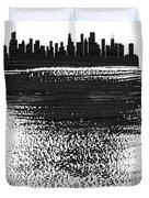 Chicago Skyline Brush Stroke Black Duvet Cover