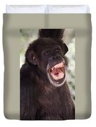 Chimp With Mouth Open Duvet Cover