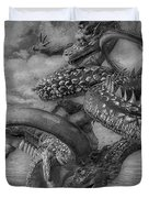 Chinese Dragons In Black And White Duvet Cover