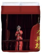 Chinese Opera Singer Onstage Duvet Cover