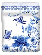 Chinoiserie Blue And White Pagoda With Stylized Flowers Butterflies And Chinese Chippendale Border Duvet Cover