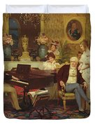 Chopin Playing The Piano In Prince Radziwills Salon Duvet Cover