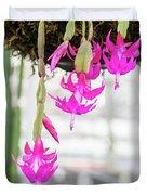 Christmas Cactus In Razzle Dazzle Pink Duvet Cover