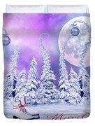 Christmas Card With Ice Skates Duvet Cover