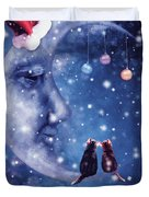 Christmas Card With Smiling Moon And Cats Duvet Cover