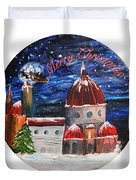 Christmas Greeting In Florence  Duvet Cover