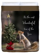 Christmas Squirrel Most Wonderful Time Of The Year Square Duvet Cover