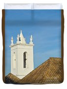 Church Bell Tower Behind Tiled Roofs In Tavira Duvet Cover