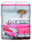 Classic Vintage Pink Chevy Bel Air  8x10 Scene Duvet Cover