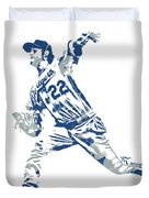 Clayton Kershaw Los Angeles Dodgers Pixel Art 30 Duvet Cover
