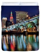 Cleveland Ohio Skyline Reflects Colorfully Duvet Cover