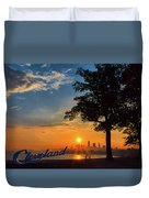 Cleveland Sign Sunrise Duvet Cover