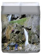 Climbers Making Their Way Up The Cliffs Of Gordale Scar Duvet Cover