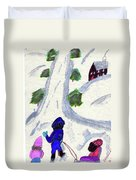 Climbing To The Top Of The Hill Duvet Cover