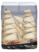 Clipper Ship Three Brothers, The Largest Sailing Ship In The World Published By Currier And Ives Duvet Cover