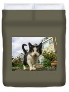 Close Up Cat On The Street Duvet Cover