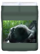 Close-up Of Frowning Adult Mountain Gorilla Duvet Cover