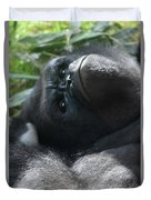 Close-up Shot Of Silverback Gorilla Making An Angry Face Duvet Cover