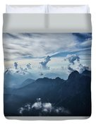 Moody Cloudy Mountains With A Lot Of Contrast And Shadows And Clouds Duvet Cover