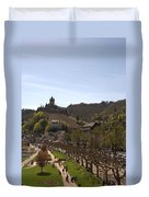 Cochem Main Street And Castle In Springtime In Germany Duvet Cover