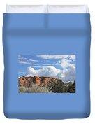 Colorado National Monument Colorado Blue Sky Red Rocks Clouds Trees Duvet Cover