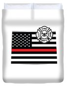 Colorado Firefighter Shield Thin Red Line Flag Duvet Cover