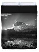 Colorado Mountain Lake In Black And White Duvet Cover