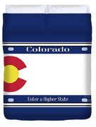 Colorado State License Plate Duvet Cover