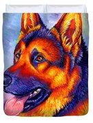 Colorful German Shepherd Dog Duvet Cover