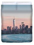 Colorful Sunrise Over The New York Skyline And The Statue Of Lib Duvet Cover