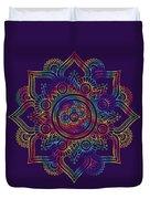 Colourful Rainbow Mandala Lavender Duvet Cover