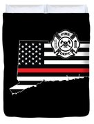 Connecticut Firefighter Shield Thin Red Line Flag Duvet Cover