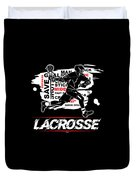 Cool Lacrosse Player Outdoors Sports Team Typography Duvet Cover