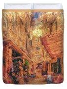 Corfu Town Street Scene Duvet Cover