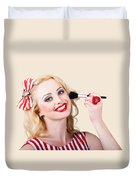 Cosmetics Pin-up Model Applying Blusher Makeup Duvet Cover