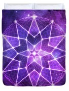 Cosmic Purple Geometric Seed Of Life Crystal Lotus Star Mandala Duvet Cover