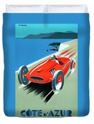 Cote D Azur, French Rivera Vintage Racing Poster Duvet Cover