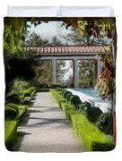 Painted Texture Courtyard Landscape Getty Villa California  Duvet Cover