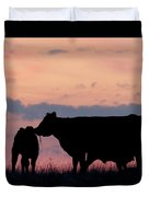 Cow And Calves After Sunset 01 Duvet Cover by Rob Graham