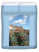 Crail Harbour And Lobster Pots Duvet Cover